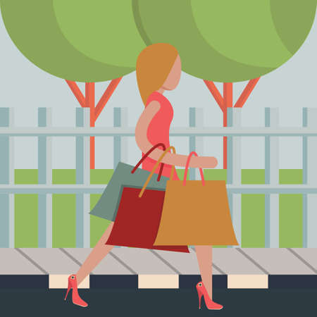 shopping people: Woman holding bags