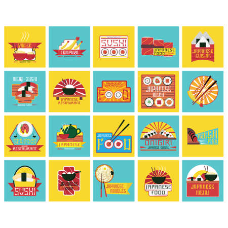 fresh food fish cake: Collection of japanese food labels Illustration