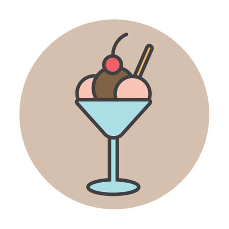 basic food: Ice-cream sundae with love letter and cherry Illustration