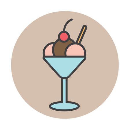 icecream sundae: Ice-cream sundae with love letter and cherry Illustration