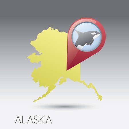alaska: USA map with alaska state