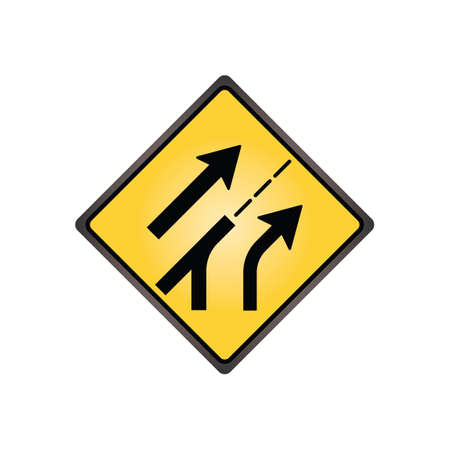 are added: Entering added lane sign