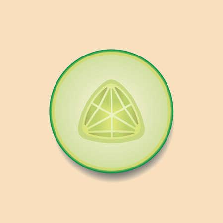 sliced: Sliced cucumber Illustration
