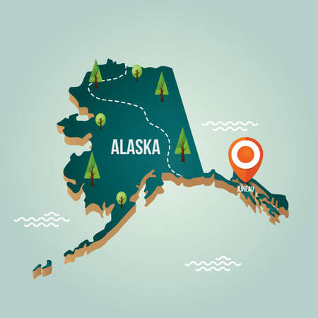 alaska map: Alaska map with capital city