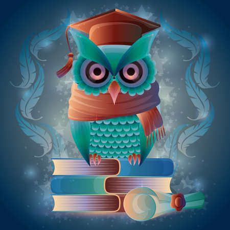 scrool: Owl sitting on books
