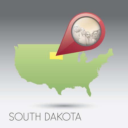 south dakota: USA map of south dakota state
