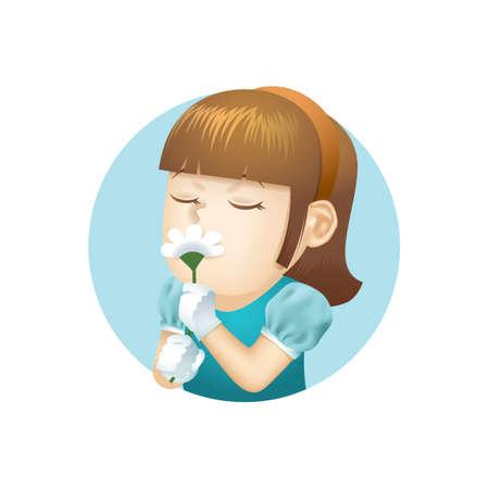 smelling: Girl smelling flower Illustration