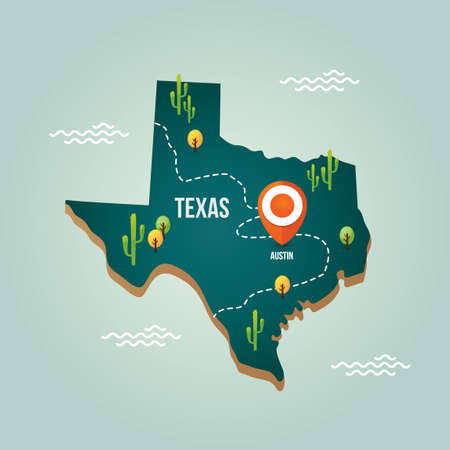 Texas map with capital city