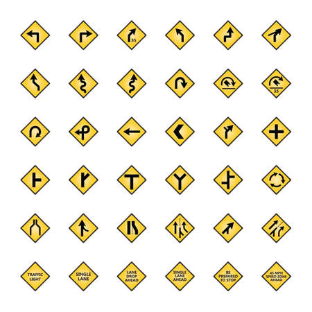 single lane road: Set of road sign icons Illustration