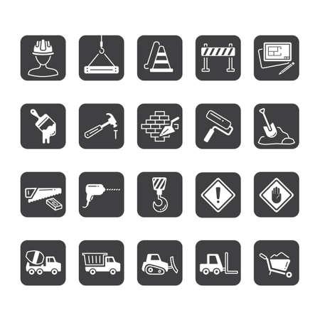 warning saw: Set of construction icons Illustration