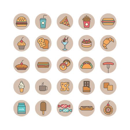 basic candy: Set of food and beverages icons