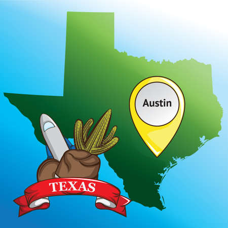 texas state: Map of texas state with cowboy hat