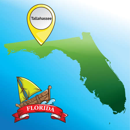 florida state: Map of florida state with boat