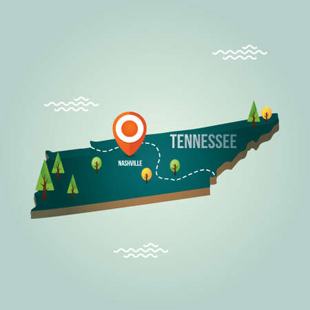 nashville: Tennessee map with capital city