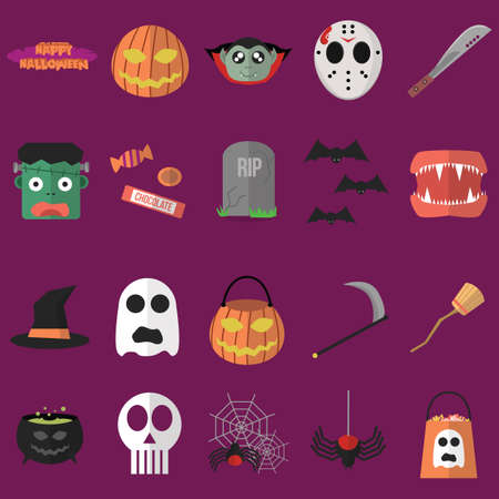 Collection of halloween icons Illustration