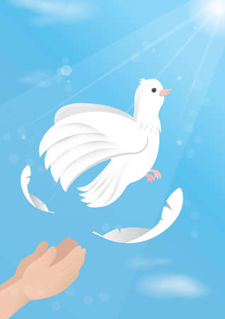 releasing: Hands releasing dove Illustration