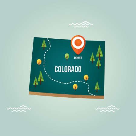 Денвер: Колорадо карта с столице Иллюстрация