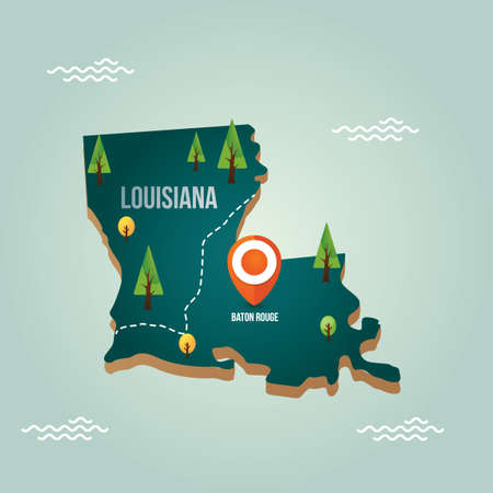 baton rouge: Louisiana map with capital city