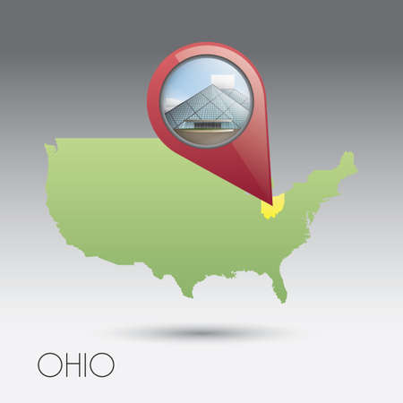 notable: USA map with ohio state