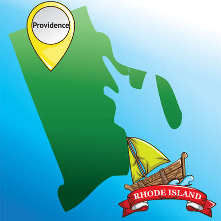 island state: Map of rhode island state with boat