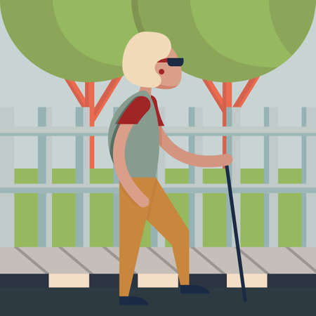 knowledgeable: Old woman holding walking stick