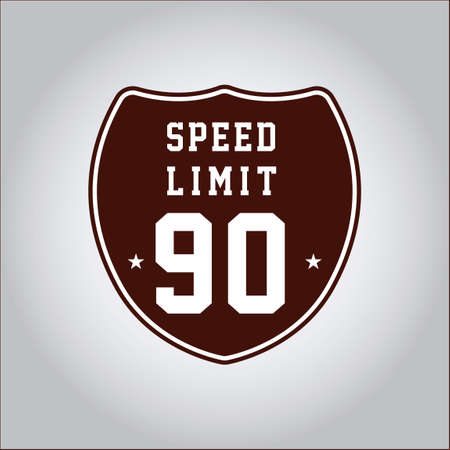 limit: Speed limit 90 sign Illustration