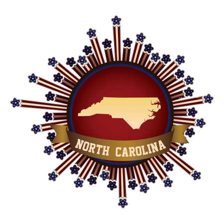 north carolina: North carolina state button with banner