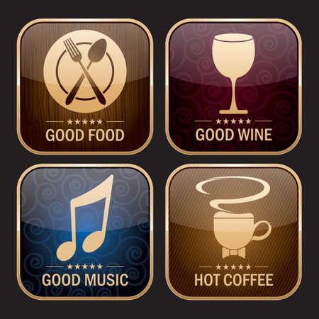 comida rica: Colección de iconos de restaurante