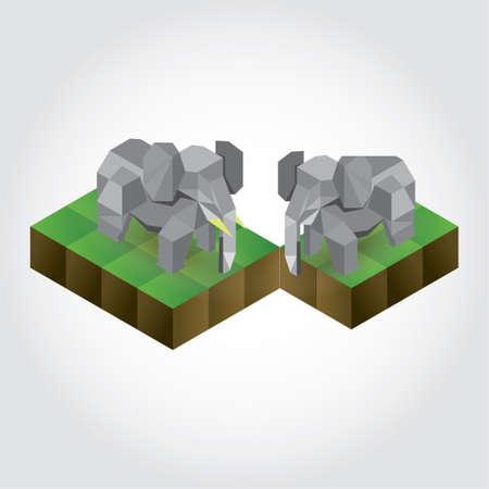 3 dimensional: Isometric elephant Illustration