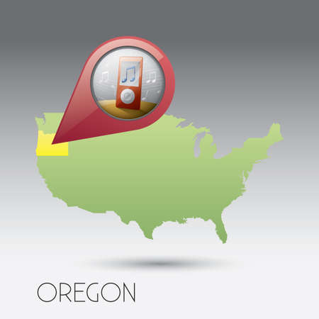 oregon: USA map with oregon state