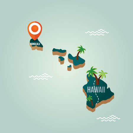Hawaii kaart met hoofdstad Stock Illustratie