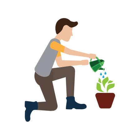 watering plant: Man watering plant