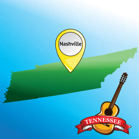tennessee: Map of tennessee state with guitar Illustration