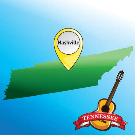 tennessee: Mapa del estado de Tennessee con la guitarra