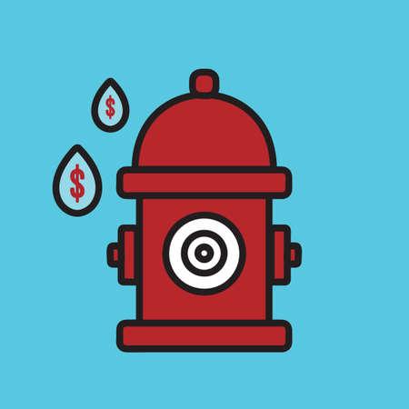 Brandkraan met waterdruppels Vector Illustratie