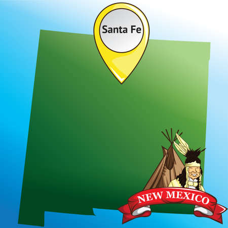 tribe: Map of new mexico state with native american tribe
