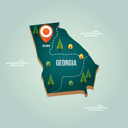 Georgia Map With Capital City Royalty Free Cliparts Vectors And - Ga map vector