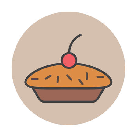 topping: Pie with cherry topping Illustration