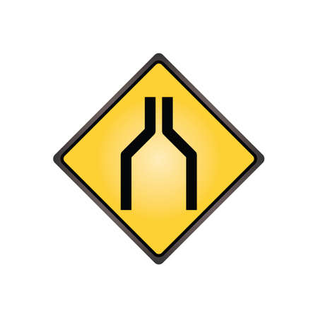 one lane road sign: One lane road sign