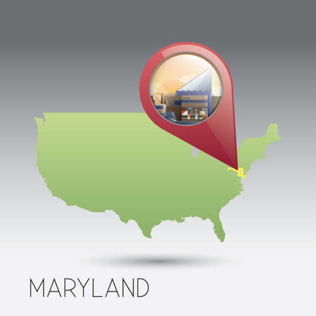 maryland: USA map with maryland state