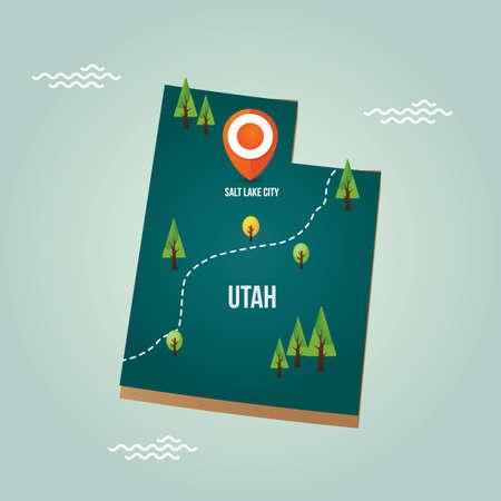 Utah kaart met hoofdstad