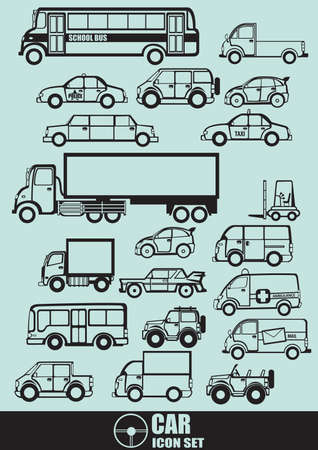 mail truck: Collection of vehicles Illustration