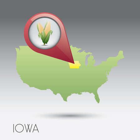 iowa: USA map with iowa state