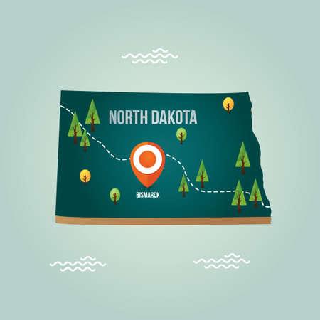 dakota: North dakota map with capital city Illustration
