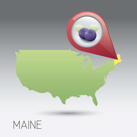 maine: USA map with maine state Illustration
