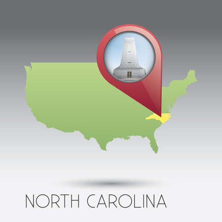wright: USA map with north carolina state