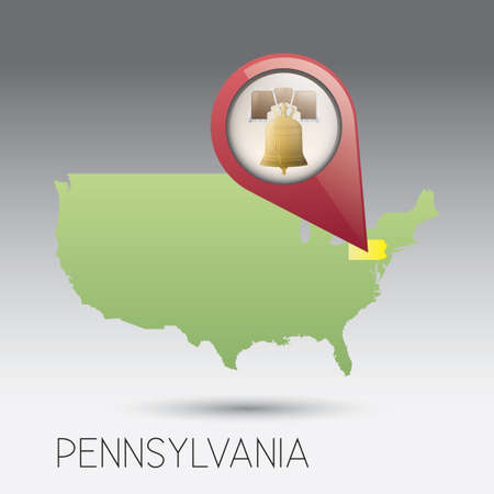 pennsylvania: USA map with pennsylvania state