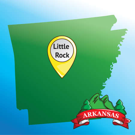 pin arbre: Carte de l'Arkansas State avec pin Illustration