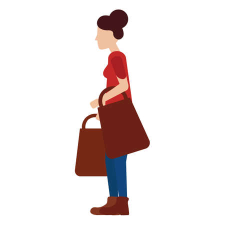 woman side view: Woman holding bags