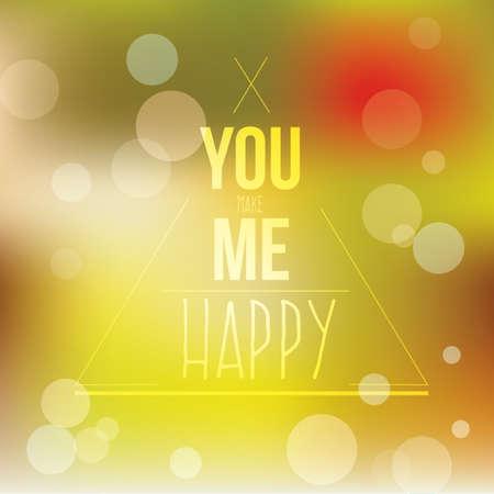 phrase: You me happy phrase Illustration